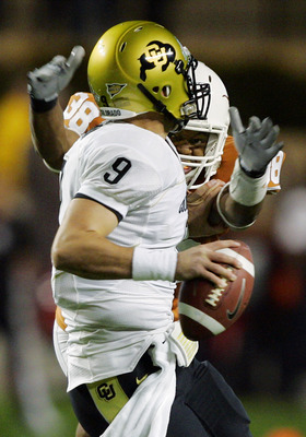 AUSTIN, TX - OCTOBER 10: Linebacker Roddrick Muckelroy #38 of the Texas Longhorns sacks quarterback Tyler Hanson #9 of the Colorado Buffaloes in the fourth quarter on October 10, 2009 at Darrell K Royal-Texas Memorial Stadium in Austin, Texas. (Photo by B