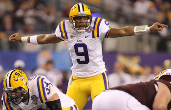 ARLINGTON, TX - JANUARY 07:  Quarterback Jordan Jefferson #9 of the LSU Tigers call a play against the Texas A&M Aggies during the AT&T Cotton Bowl at Cowboys Stadium on January 7, 2011 in Arlington, Texas.  (Photo by Ronald Martinez/Getty Images)