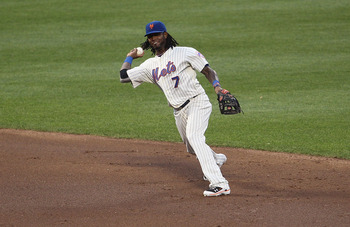 NEW YORK, NY - AUGUST 02:  Jose Reyes #7 of the New York Mets against the Florida Marlins at Citi Field on August 2, 2011 in the Flushing neighborhood of the Queens borough of New York City.  (Photo by Nick Laham/Getty Images)