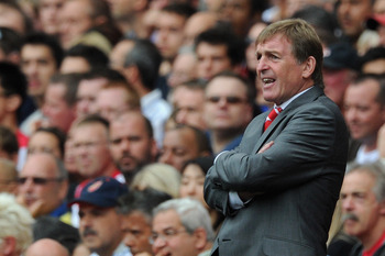 LONDON, ENGLAND - AUGUST 20:  Liverpool manager Kenny Dalglish shouts orders to his team during the Barclays Premier League match between Arsenal and Liverpool at the Emirates Stadium on August 20, 2011 in London, England.  (Photo by Michael Regan/Getty I