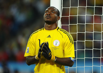 DURBAN, SOUTH AFRICA - JUNE 22:  Vincent Enyeama of Nigeria prays for victory during the 2010 FIFA World Cup South Africa Group B match between Nigeria and South Korea at Durban Stadium on June 22, 2010 in Durban, South Africa.  (Photo by Laurence Griffit