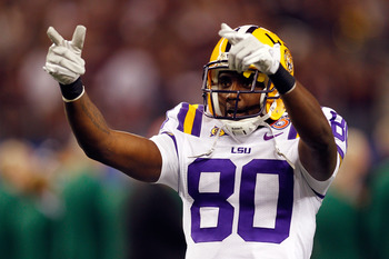 ARLINGTON, TX - JANUARY 07:  Terrence Toliver #80 of the Louisiana State University Tigers points to the crowd during pregame before playing the Texas A&M Aggies during the AT&T Cotton Bowl at Cowboys Stadium on January 7, 2011 in Arlington, Texas.  (Phot