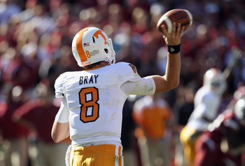 COLUMBIA, SC - OCTOBER 30:  Tyler Bray #8 of the Tennessee Volunteers throws a pass against the South Carolina Gamecocks during their game at Williams-Brice Stadium on October 30, 2010 in Columbia, South Carolina.  (Photo by Streeter Lecka/Getty Images)