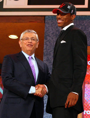 NEW YORK - JUNE 25:   NBA Commissioner David Stern poses for a photograph with the ninth overall draft pick by the Toronto Raptors,  DeMar DeRozan during the 2009 NBA Draft at the Wamu Theatre at Madison Square Garden June 25, 2009 in New York City. NOTE