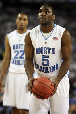 DETROIT - APRIL 06:  Ty Lawson #5 of the North Carolina Tar Heels shoots a free throw while taking on the Michigan State Spartans during the 2009 NCAA Division I Men's Basketball National Championship game at Ford Field on April 6, 2009 in Detroit, Michig