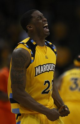 MILWAUKEE - MARCH 07: Wesley Matthews #23 of the Marquette Golden Eagles celebrates hitting a shot against the Syracuse Orange on March 7, 2009 at the Bradltey Center in Milwaukee, Wisconsin. Syracuse defeated Marquette 86-79 in overtime. (Photo by Jonath