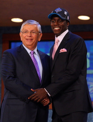 NEW YORK - JUNE 25:  NBA Commissioner David Stern poses for a photograph with the twenty first overall draft pick by the New Orleans Hornets,  Darren Collison during the 2009 NBA Draft at the Wamu Theatre at Madison Square Garden June 25, 2009 in New York