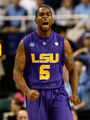GREENSBORO, NC - MARCH 21:  Marcus Thornton #5 of the Louisiana State University Tigers reacts after a basket against the North Carolina Tar Heels during the second round of the NCAA Division I Men's Basketball Tournament at the Greensboro Coliseum on Mar