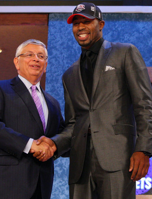 NEW YORK - JUNE 25:  NBA Commissioner David Stern poses for a photograph with the eleventh overall draft pick by the New Jersey Nets,  Terrence Williams during the 2009 NBA Draft at the Wamu Theatre at Madison Square Garden June 25, 2009 in New York City.