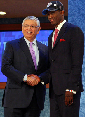 NEW YORK - JUNE 25:  NBA Commissioner David Stern poses for a photograph with the twenty fifth overall draft pick by the Oklahoma City Thunder,  Rodrigue Beaubois during the 2009 NBA Draft at the Wamu Theatre at Madison Square Garden June 25, 2009 in New