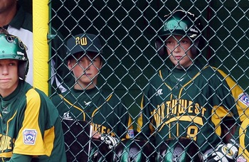 SOUTH WILLIAMSPORT, PA - AUGUST 23:  The Northwest team from Lake Oswego, Oregon look on against the Southwest team from Lubbock, Texas during the United States semi-final game of the Little League World Series on August 23, 2007 at Lamade Stadium in Sout