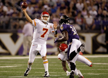 BALTIMORE, MD - AUGUST 19: Quarterback Matt Cassel #7 of the Kansas City Chiefs throws a pass while being pressured by safety Bernard Pollard #31 of the Baltimore Ravens during the first half of a preseason game at M&T Bank Stadium on August 19, 2011 in B