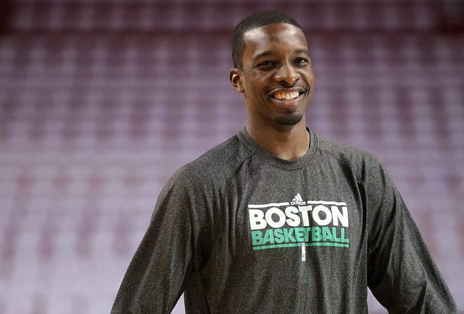 MIAMI, FL - MAY 11: Jeff Green #8 of the Boston Celtics warms up before Game Five of the Eastern Conference Semifinals of the 2011 NBA Playoffs against the Miami Heat at American Airlines Arena on May 11, 2011 in Miami, Florida. NOTE TO USER: User express