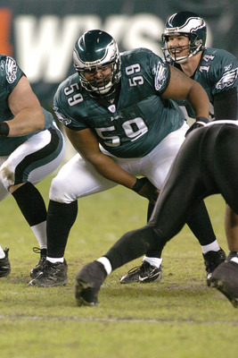 Philadelphia Eagles center #59 Nick Cole in action against the Atlanta Falcons on Sunday, December 31, 2006 at Lincoln Financial Field in Philadelphia, Pennsylvania.  The Eagles won, 24-17. (Photo by Brian Killian/NFLPhotoLibrary)