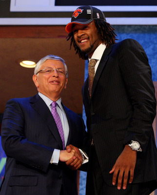 NEW YORK - JUNE 25:  NBA Commissioner David Stern poses for a photograph with the eighth overall draft pick by the New York Knicks,  Jordan Hill during the 2009 NBA Draft at the Wamu Theatre at Madison Square Garden June 25, 2009 in New York City. NOTE TO