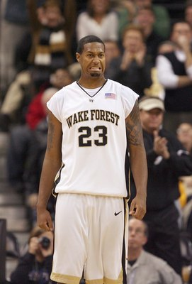 WINSTON-SALEM, NC - DECEMBER 03:  James Johnson #23 of the Wake Forest Demon Deacons reacts on the court during their game against the Indiana Hoosiers at Lawrence Joel Coliseum on December 3, 2008 in Winston-Salem, North Carolina. (Photo by Streeter Leck