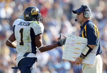 PASADENA, CA - OCTOBER 20:  DeSean Jackson #1 of the California Golden Bears celebrates with head coach Jeff Tedford after scoring a touchdown in the second half against the UCLA Bruins at the Pasadena Rose Bowl October 20, 2007 in Pasadena, California.
