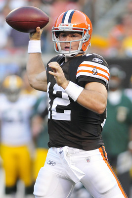 CLEVELAND, OH - AUGUST 13: Starting quarterback Colt McCoy #12 of the Cleveland Browns passes during the first quarter against the against the Green Bay Packers at Cleveland Browns Stadium on August 13, 2011 in Cleveland, Ohio. (Photo by Jason Miller/Gett