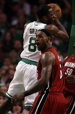 BOSTON, MA - MAY 07:  LeBron James #6 of the Miami Heat reacts after he fouls Jeff Green #8 of the Boston Celtics in Game Three of the Eastern Conference Semifinals in the 2011 NBA Playoffs on May 7, 2011 at the TD Garden in Boston, Massachusetts.  The Bo