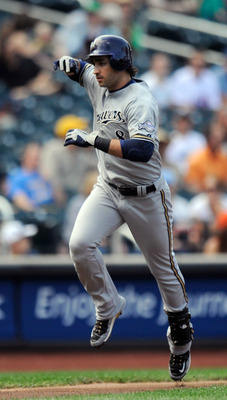 NEW YORK, NY - AUGUST 20:  Ryan Braun #8 of the Milwaukee Brewers celebrates after hitting a two run home run in the first inning during a game against the New York Mets at Citi Field on August 20, 2011 in the Flushing neighborhood of the Queens borough o
