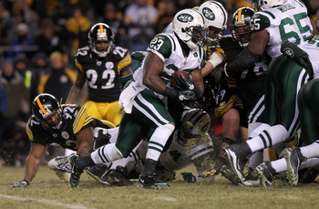 PITTSBURGH, PA - JANUARY 23:  Shonn Greene #23 of the New York Jets runs the ball against the Pittsburgh Steelers during the 2011 AFC Championship game at Heinz Field on January 23, 2011 in Pittsburgh, Pennsylvania. The Steelers won 24-19. (Photo by Nick