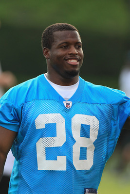 SPARTANBURG, SC - JULY 30:  Jonathan Stewart #28 of the Carolina Panthers smiles during training camp at Wofford College on July 30, 2011 in Spartanburg, South Carolina.  (Photo by Streeter Lecka/Getty Images)