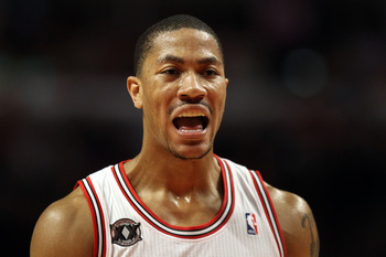 CHICAGO, IL - MAY 26:  Derrick Rose #1 of the Chicago Bulls reacts against the Miami Heat in Game Five of the Eastern Conference Finals during the 2011 NBA Playoffs on May 26, 2011 at the United Center in Chicago, Illinois. NOTE TO USER: User expressly ac