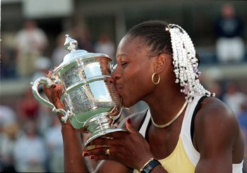 Serena's first time with the trophy