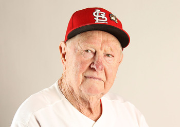 JUPITER, FL - FEBRUARY 24: Coach Red Schoendienst of the St. Louis Cardinals poses for a portrait during Photo Day at Roger Dean Stadium on February 24, 2011 in Jupiter, Florida.  (Photo by Mike Ehrmann/Getty Images)