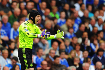 LONDON, ENGLAND - MAY 15:  Petr Cech the Chelsea goalkeeper in action during the Barclays Premier League match between Chelsea and Newcastle United at Stamford Bridge on May 15, 2011 in London, England.  (Photo by Mike Hewitt/Getty Images)