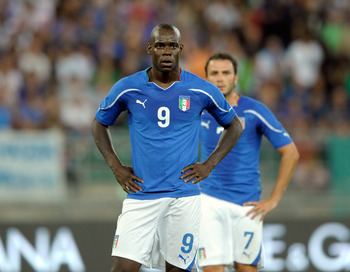 BARI, ITALY - AUGUST 10:  Mario Balotelli of Italy during the international friendly match between Italy and Spain at Stadio San Nicola on August 10, 2011 in Bari, Italy.  (Photo by Claudio Villa/Getty Images)