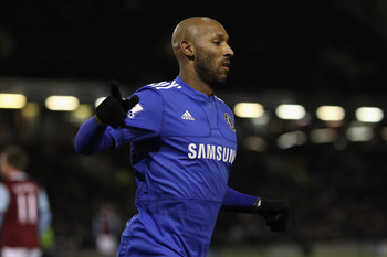 BURNLEY, ENGLAND - JANUARY 30:  Nicholas Anelka of Chelsea celebrates scoring the opening goal during the Barclays Premier League match between Burnley and Chelsea at Deepdale on January 30, 2010 in Burnley, United Kingdom.  (Photo by Alex Livesey/Getty I