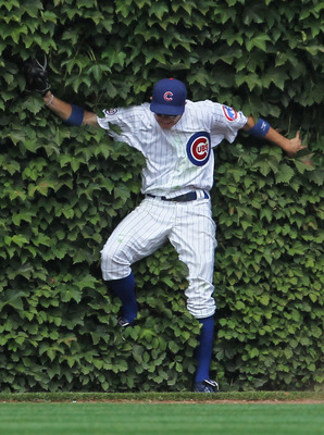 CHICAGO, IL - AUGUST 05:  Tony Campana #41 of the Chicago Cubs falls into the ivy after making a catch against the Cincinnati Reds at Wrigley Field on August 5, 2011 in Chicago, Illinois.  (Photo by Jonathan Daniel/Getty Images)