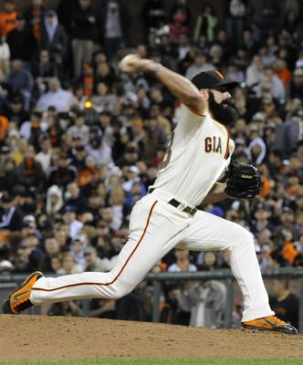 SAN FRANCISCO, CA - JULY 23: Brian Wilson #38 of the San Francisco Giants pitches against the Milwaukee Brewers in the ninth inning during an MLB baseball game at AT&T Park July 23, 2011 in San Francisco, California. The Giants won the game 4-2. (Photo by