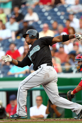 WASHINGTON, DC - JULY 27: Hanley Ramirez #2 of the Florida Marlins hits against the Washington Nationals at Nationals Park on July 27, 2011 in Washington, DC. The Marlins won 7-5. (Photo by Ned Dishman/Getty Images)