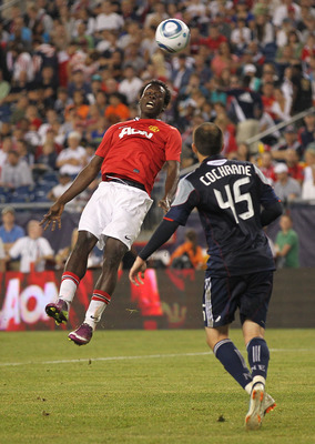 FOXBORO, MA - JULY 13:  Mame Biram Diouf #32 of Manchester United shoots on net against the New England Revolution during a friendly match at Gillette Stadium on July 13, 2011 in Foxboro, Massachusetts. (Photo by Jim Rogash/Getty Images)