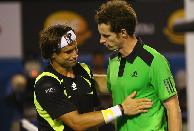 MELBOURNE, AUSTRALIA - JANUARY 28:  Andy Murray of Great Britain is congratulated by David Ferrer of Spain in his semifinal match win during day twelve of the 2011 Australian Open at Melbourne Park on January 28, 2011 in Melbourne, Australia.  (Photo by R