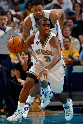 NEW ORLEANS - APRIL 29:  Chris Paul #3 of the New Orleans Hornets drives down the court after stealing the ball from Jason Terry #31 of the Dallas Mavericks in Game Five of the Western Conference Quarterfinals during the 2008 NBA Playoffs at The New Orlea