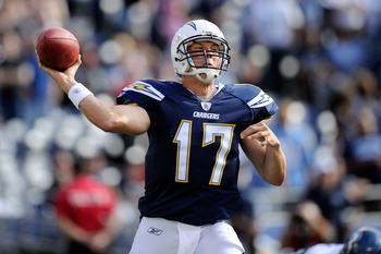 SAN DIEGO, CA - AUGUST 11:  Philip Rivers #17 of the San Diego Chargers throws a pass in the first quarter against the Seattle Seahawks during the NFL preseason game at Qualcomm Stadium on August 11, 2011 in San Diego, California.  (Photo by Kevork Djanse