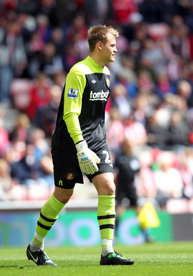 SUNDERLAND, ENGLAND - MAY 14:  Simon Mignolet of Sunderland during the Barclays Premier League match between Sunderland and Wolverhampton Wanderers at The Stadium of Light on May 14, 2011 in Sunderland, England. (Photo by Ian MacNicol/Getty Images)