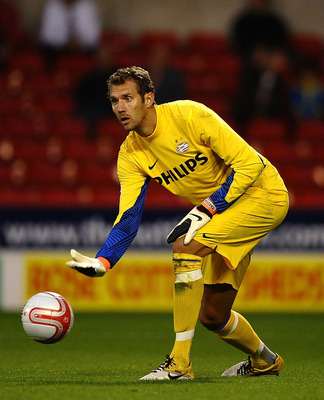 NOTTINGHAM, ENGLAND - JULY 27: Andreas Isaksson of PSV in action during the Pre Season Friendly match between Nottingham Forest and PSV Eindhoven at City Ground on July 27, 2011 in Nottingham, England.  (Photo by Laurence Griffiths/Getty Images)