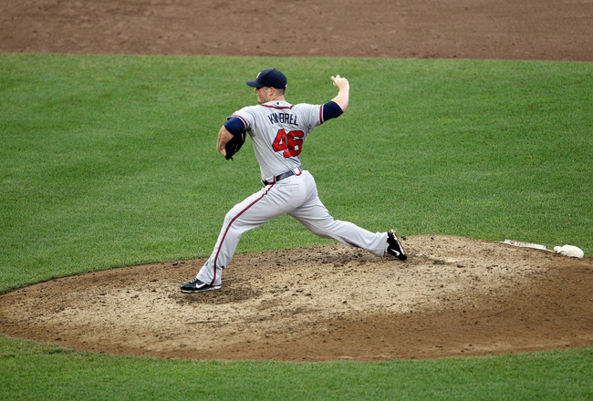 WASHINGTON, DC - AUGUST 03:  Reliever Craig Kimbrel #46 of the Atlanta Braves pitches against the Washington Nationals at Nationals Park on August 3, 2011 in Washington, DC.  (Photo by Rob Carr/Getty Images)