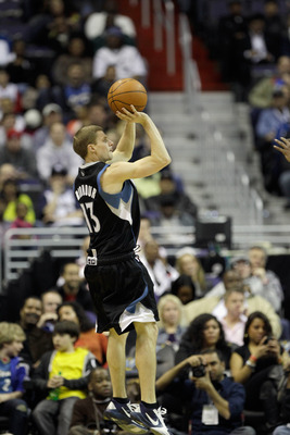 WASHINGTON, DC - MARCH 05:  Luke Ridnour #13 of the Minnesota Timberwolves puts up a shot against the Washington Wizards at the Verizon Center on March 5, 2011 in Washington, DC. NOTE TO USER: User expressly acknowledges and agrees that, by downloading an