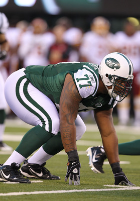 EAST RUTHERFORD, NJ - AUGUST 27:  Kris Jenkins #77 of the New York Jets in action against the Washington Redskins  during their preseason game on August 27, 2010 at the New Meadowlands Stadium  in East Rutherford, New Jersey.  (Photo by Al Bello/Getty Ima