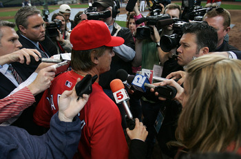 MILWAUKEE - APRIL 30: Manager Tony LaRussa of the St. Louis Cardinals answers questions from media members about the death of Cardinal player Josh Hancock before a game against the Milwaukee Brewers on April 30, 2007 at Miller Park  in Milwaukee, Wisconsi