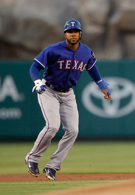 ANAHEIM, CA - AUGUST 17:  Elvis Andrus #1 of the Texas Rangers leads off of second base against the Los Angeles Angels of Anaheim at Angel Stadium of Anaheim on August 17, 2011 in Anaheim, California.  (Photo by Jeff Gross/Getty Images)