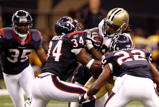 NEW ORLEANS - AUGUST 21:  Chris Ivory #48 of the New Orleans Saints in action during the game against the Houston Texans at the Louisiana Superdome on August 21, 2010 in New Orleans, Louisiana.  (Photo by Chris Graythen/Getty Images)