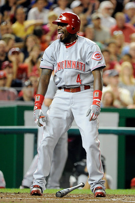 WASHINGTON, DC - AUGUST 16:  Brandon Phillips #4 of the Cincinnati Reds reacts after striking out to end the seventh inning against the Washington Nationals at Nationals Park on August 16, 2011 in Washington, DC. Washington won the game 6-4. (Photo by Gre