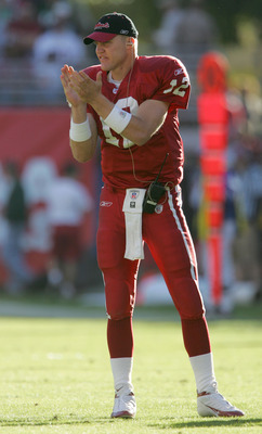 TEMPE, AZ - NOVEMBER 28:  Back up quarterback Josh McCown #12 of the Arizona Cardinals cheers on his team from the sidelines during the second quarter of the game against the New York Jets at Sun Devil Stadium on November 24, 2004 in Tempe, Arizona.  The