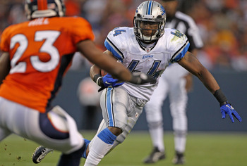 DENVER - AUGUST 21:  Jahvid Best #44 of the Detroit Lions rushes the ball as Renaldo Hill #23 of the Denver Broncos defends during preseason NFL action at INVESCO Field at Mile High on August 21, 2010 in Denver, Colorado. The Lions defeated the Broncos 25